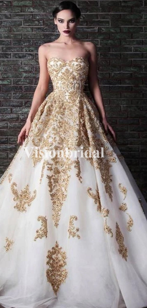 Gorgeous Beading Sweetheart With Golden Appliques Wedding Dresses, VB03721