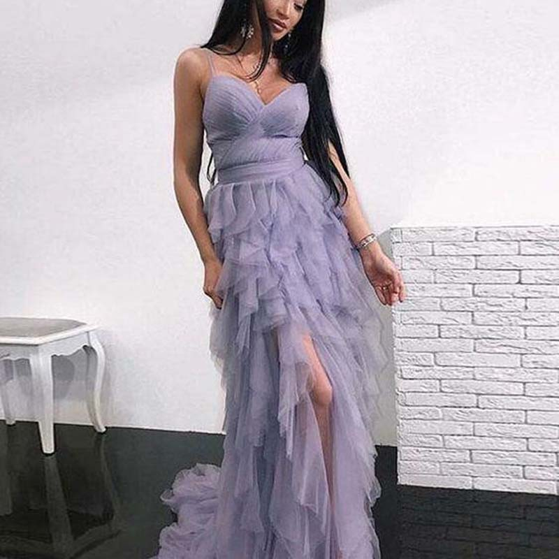 Charming Light Purple Spaghetti Straps Layered Side Slit Tulle Prom Dresses, Prom Dresses, VB01502