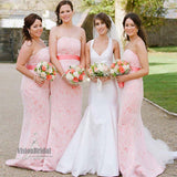 Charming Peachy Pink Straight Neckline Open Back Floor Length Lace Bridesmaid Dress With Ribbon, Bridesmaid Dress, VB0543 - Visionbridal
