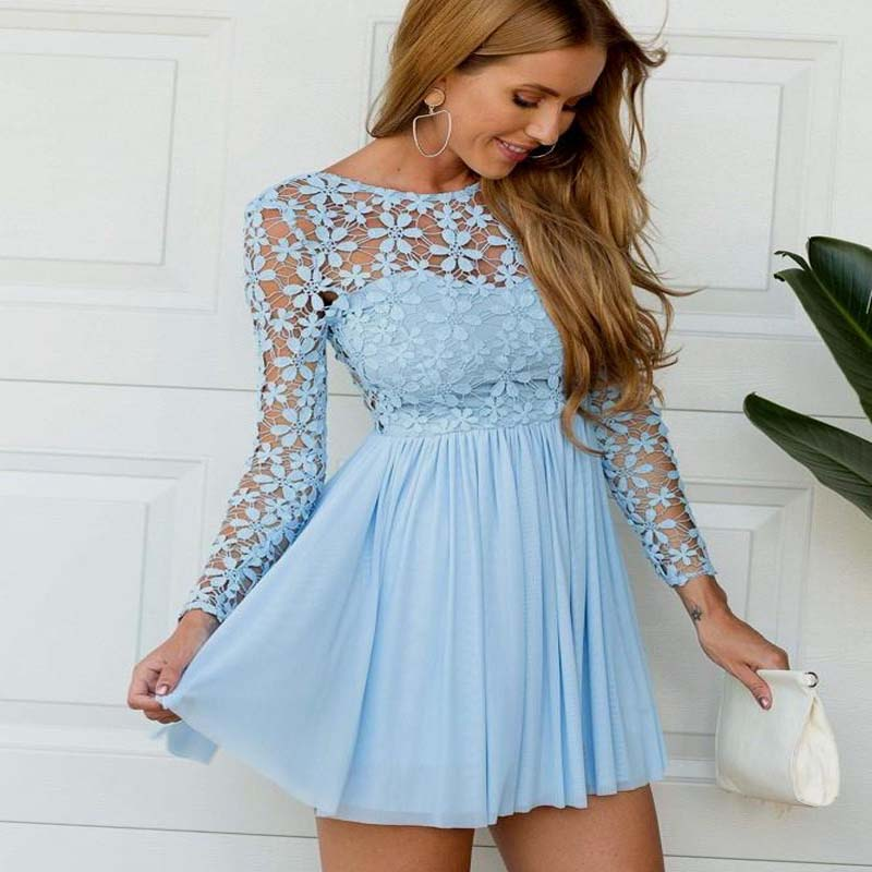 Charming Blue Illusion Lace Top See Through Long Sleeves A-Line Short Homecoming Dresses, V-Back Homecoming Dresses, VB01105