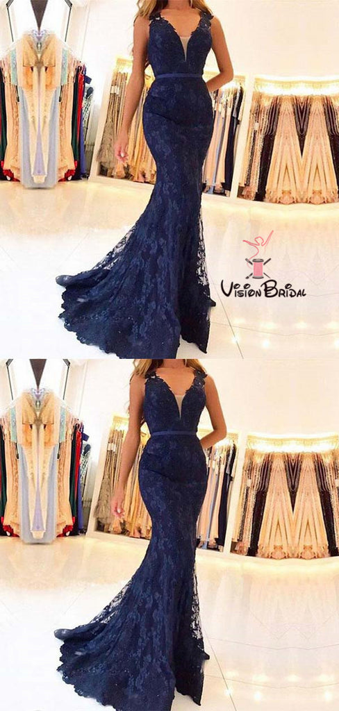 Sexy Navy Blue V-Neck Long Mermaid Lace Prom Dresses, Prom Dresses, VB01522