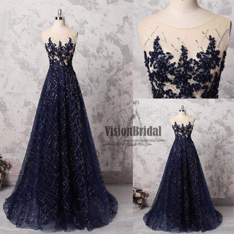 Sparkly Dark Blue Round Neck With Beaded A-Line Long Prom Dress, Charming Prom Dress, VB0484 - Visionbridal