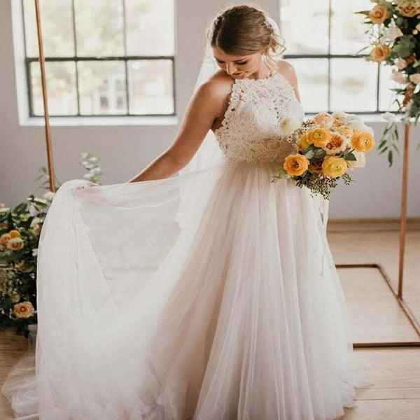 Simple Halter Lace Top Long A Line Tulle Wedding Dresses Wedding Dresses Vb01368 Simple Halter Lace Top Long A Line Tulle Wedding Dresses Wedding