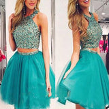 New Arrival turquoise two pieces beaded off shoulder casual homecoming prom dress,VB0150 - Visionbridal