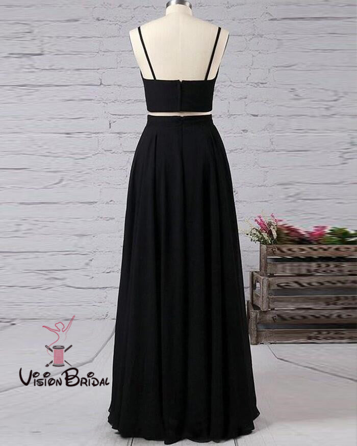 Sexy Black Spaghetti Straps Long A-Line Side Slit Prom Dresses, Two Pieces Prom Dresses, VB01394