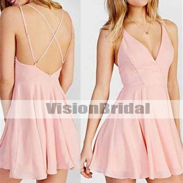 5d2522e2747 Simple Pink Spaghetti Straps Crisscross Back A-Line Short Homecoming Prom  Dresses