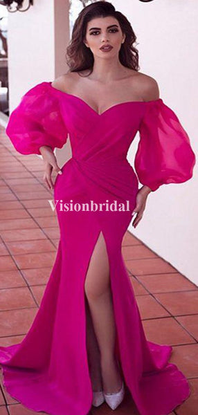 Charming Hot Pink Off Shoulder With Sleeves Mermaid Side Slit Prom Dresses, VB03406
