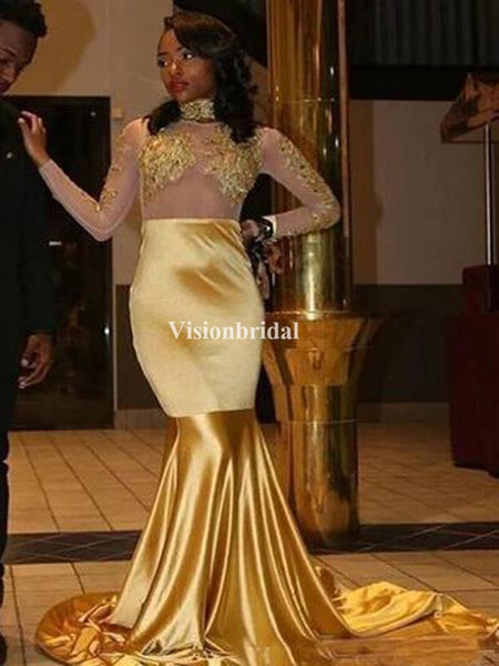 Charming Golden High Neck Long Sleeve Mermaid Prom Dresses With Trailing, VB03308