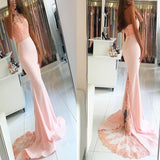 Peachy Pink Halter Lace Top Mermaid With Trailing Prom Dress, Charming Prom Dress, VB0259 - Visionbridal