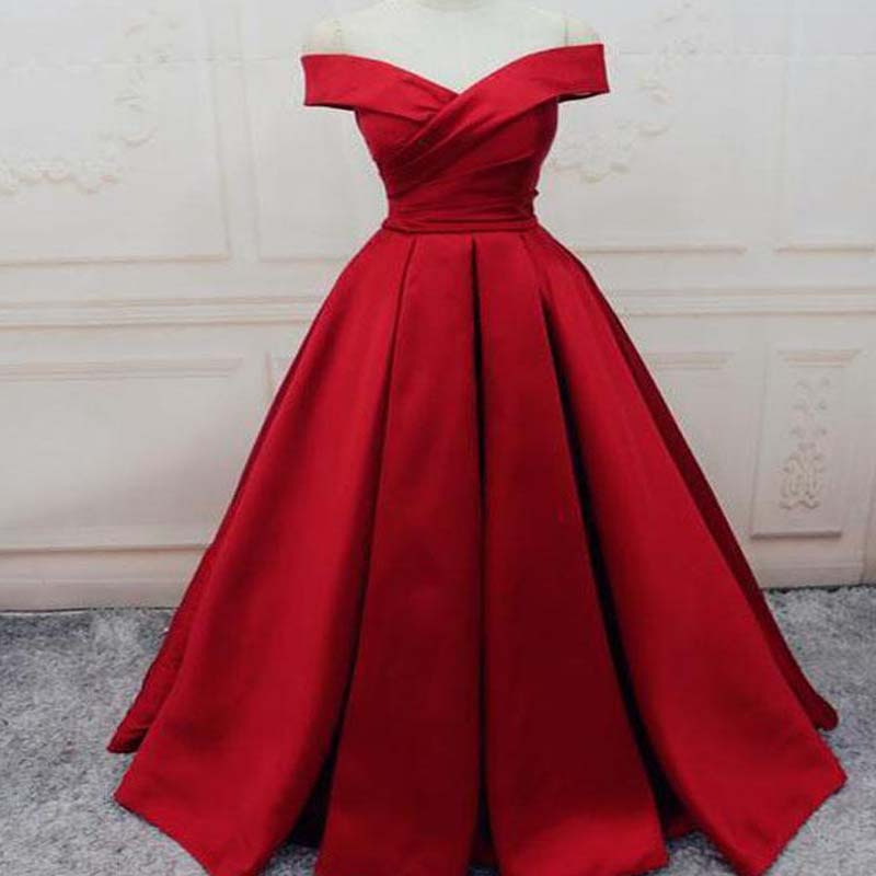Simple Red Off Shoulder A line Long Custom Evening Prom Dresses ...