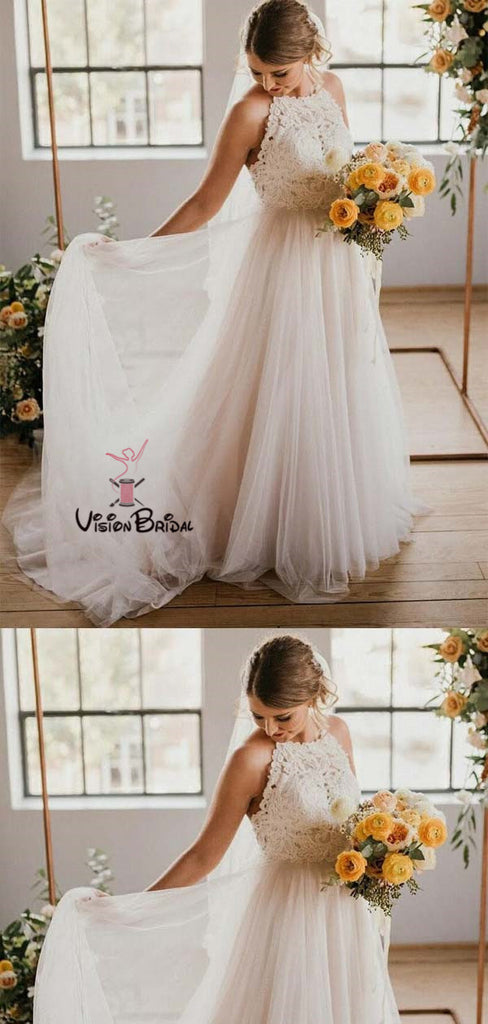 Simple Halter Lace Top Long A-Line Tulle Wedding Dresses, Wedding Dresses, VB01368