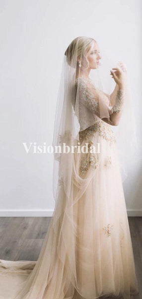Alluring Bateau Neckline Long Sleeve Beading Tulle Wedding Dresses, VB02918