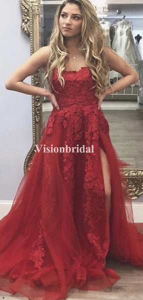 Popular Red Strapless Lace A-Line Lace Side Slit Prom Dresses, VB03714