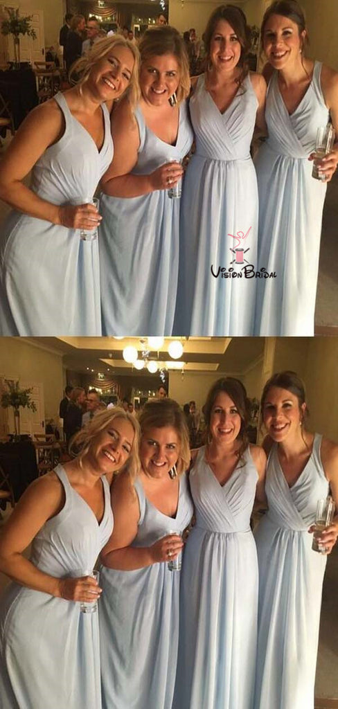 Simple Blue V-Neck With Pleated Long A-Line Chiffon Bridesmaid Dresses, Bridesmaid Dresses, VB01474