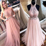 Charming Pink High Neck With Lace Long A-Line Tulle Prom Dresses, Prom Dresses, VB01900