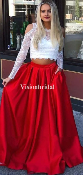 Popular Red Two Pieces Long Sleeve Lace Top Zipper Up A-Line Prom Dresses, VB03661