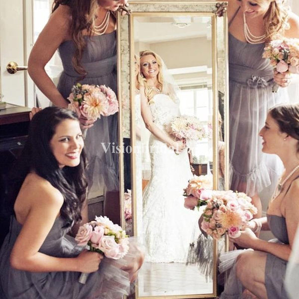 Affordable Strapless Short A-Line Tulle Bridesmaid Dresses, VB03732