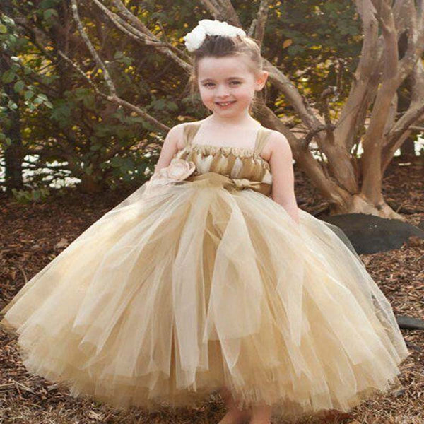 2b139f7fc2 Champagne Tulle Flower Girl Dress With Sash