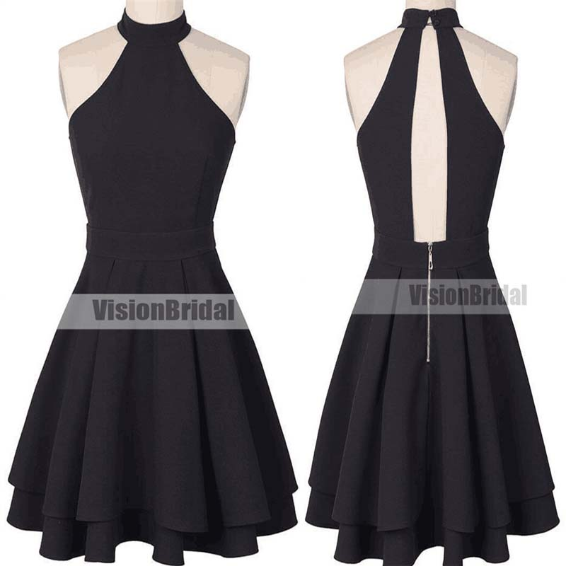 Elegant Black Halter Open Back Homecoming Dresses, Junior A-Line Pleating Homecoming Dresses, Homecoming Dresses, VB0869