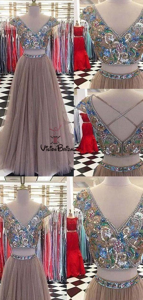 Alluring Top Rhinestones Cap Sleeve Two Pieces A-Line Tulle Prom Dresses, Prom Dresses, VB01585