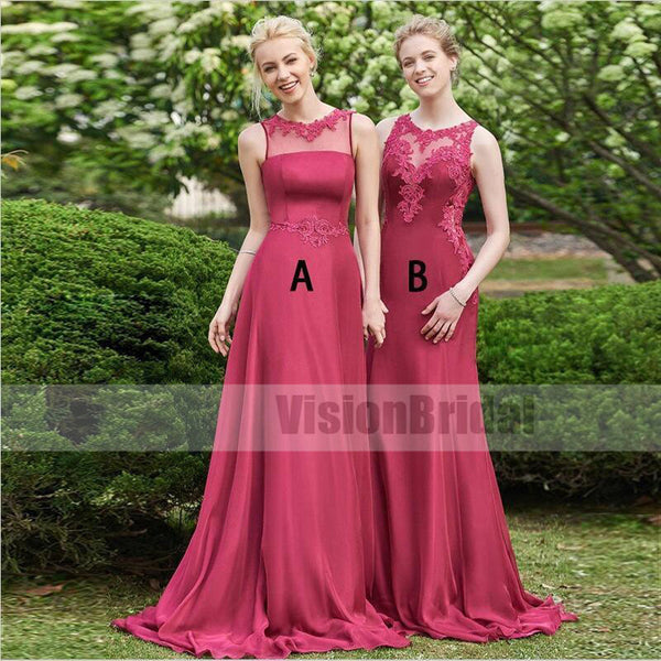 b5028c84abc2 Beautiful Hot Pink Mismatched Long Soft Satin Bridesmaid Dresses Combined  With Lace, Elegant Bridesmaid Dresses