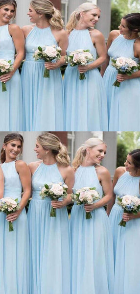 Charming Blue Halter Long A-Line Chiffon Bridesmaid Dresses, 2019 Bridesmaid Dresses, VB02409