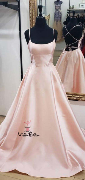 Lovely Pink Spaghetti Straps Crisscross Back Long A-Line Prom Dresses, Affordable Prom Dresses, VB01909