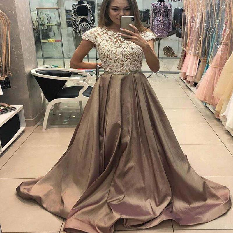 Unique Lace Top Cap Sleeve Long A-Line Satin Prom Dresses, Prom Dresses, VB01326