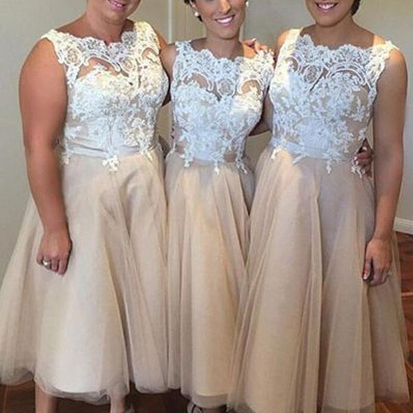 Pretty Ivory Lace Top Tulle Tea Length Affordable Bridesmaid Dresses for Wedding Party, VB0198 - Visionbridal