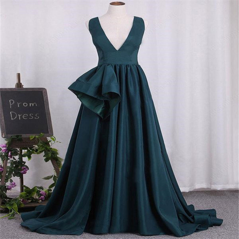 Simple Elegant V-Neck V-Back Long A-Line Prom Dresses, Unique Prom Dresses, Prom Dresses, VB01273
