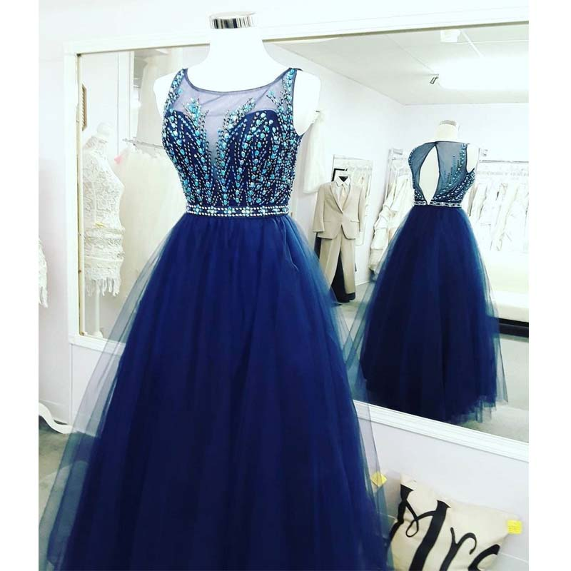 Sexy Open Back Royal Blue Delicate Beading Rhinestone A line Tulle Long Evening Prom Dresses, VB0207