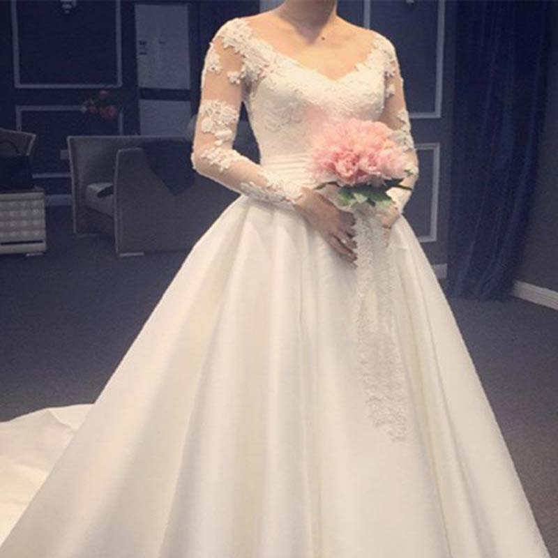 Elegant Lace Top Long Sleeve Long A-Line Satin Wedding Dresses With Trailing, Wedding Dresses, VB01363