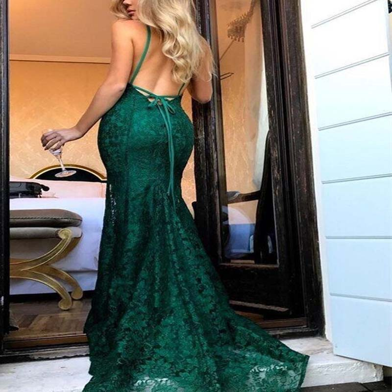 Sexy Spaghetti Straps Open Back Long Lace Mermaid Prom Dresses, Prom Dresses, VB01491