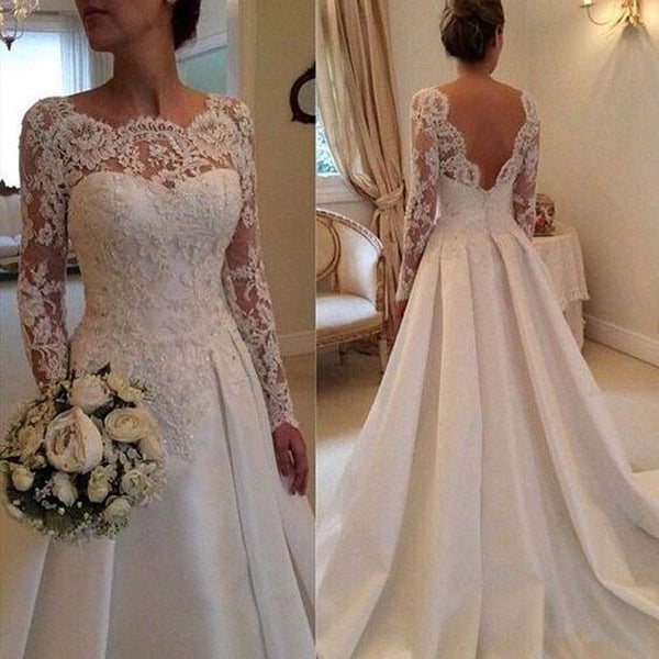 Beautiful Illusion V-Back Long Sleeves Satin Wedding Dresses With Lace, Beading A-Line Wedding Dresses With Trailing, VB01003