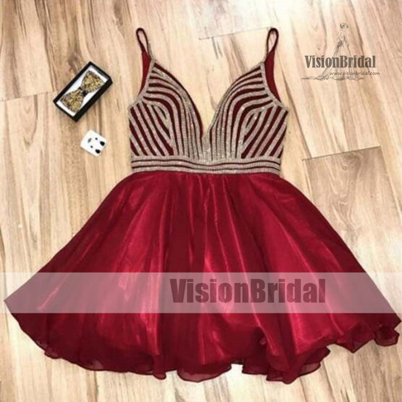 Special A-Line Deep V-Neck Popular Short Junior Cheap Sparkly Shinning Homecoming Dresses, Homecoming Dresses, VB0870
