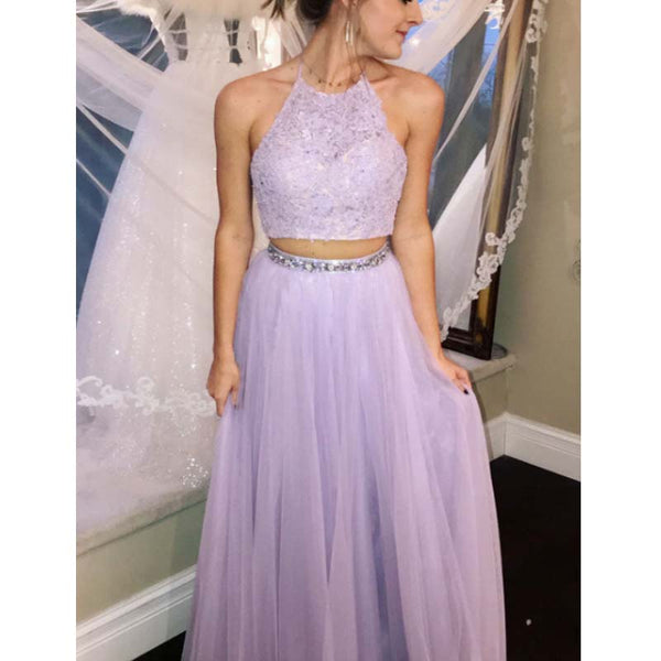a2eee942 Lilac Halter Top Lace Two Pieces Long A-Line Tulle Prom Dresses With Beaded,