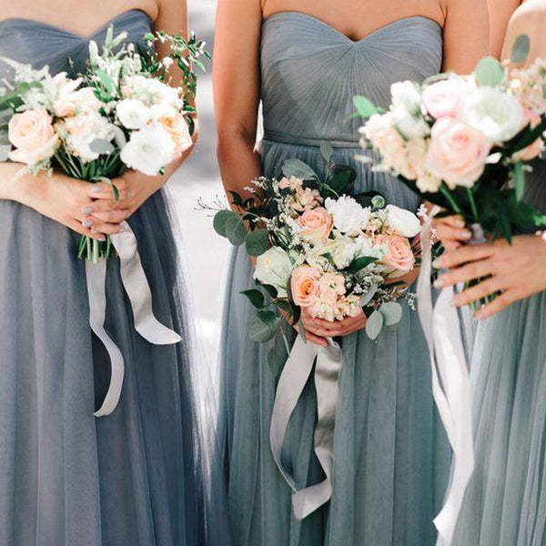 Popular Top Pleated Sweetheart Long A-Line Tulle Bridesmaid Dresses, VB03782