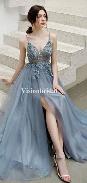 Shinny Spaghetti Straps With Rhinestones A-Line Side Slit Tulle Prom Dresses, VB03715