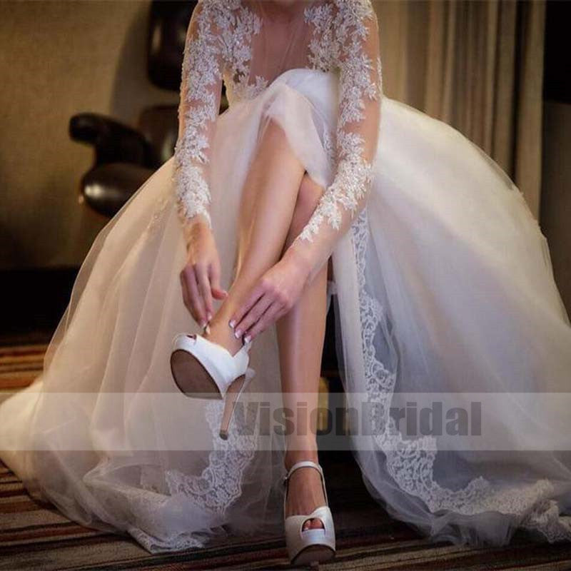 Gorgeous See Through Round Neck Long Sleeves Covered Buttons Long Lace Wedding Dress With Beading, Wedding Dress, VB0764