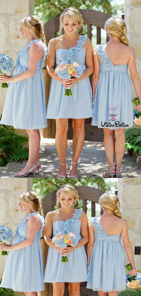 Blue One Shoulder Zipper Up Short Bridesmaid Dresses, Bridesmaid Dresses, VB01882
