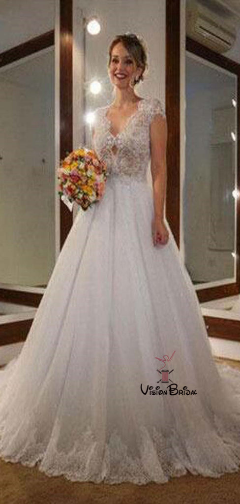Classy Lace Top Cap Sleeve Scoop Neckline Long A-Line Tulle Wedding Dresses, Wedding Dresses, VB01369