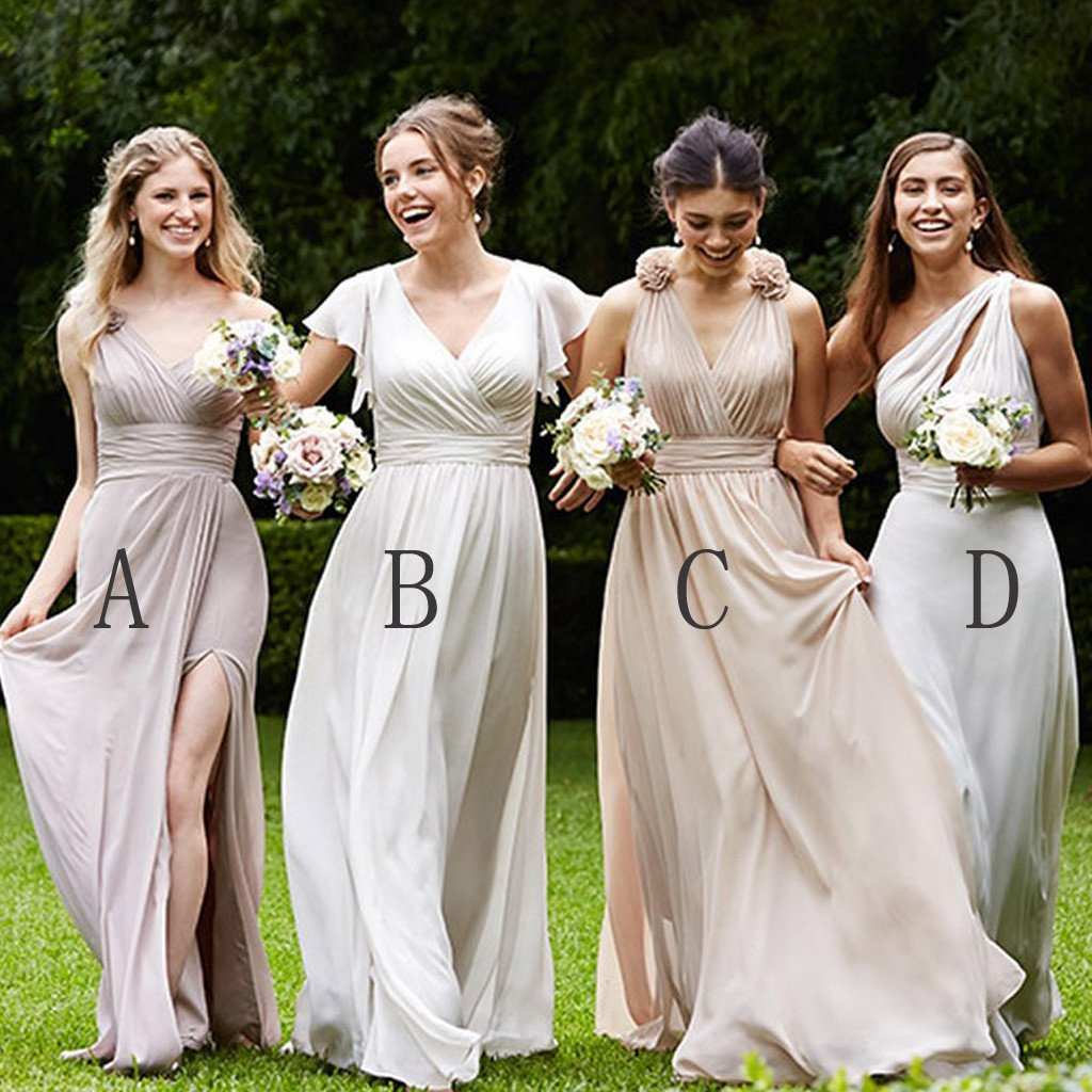 Mismatched Pretty Cheap Chiffon Side Split Full Length High Quality Custom Bridesmaid Dresses, VB0121 - Visionbridal