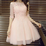 Pink lace A-line with half sleeve lovely elegant party gown homecoming prom dress,VB0175 - Visionbridal