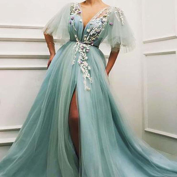 2019 Newest Deep V-Neck Short Sleeves A-Lines Side Slit Tulle Prom Dresses With Appliques, Prom Dresses, VB01455