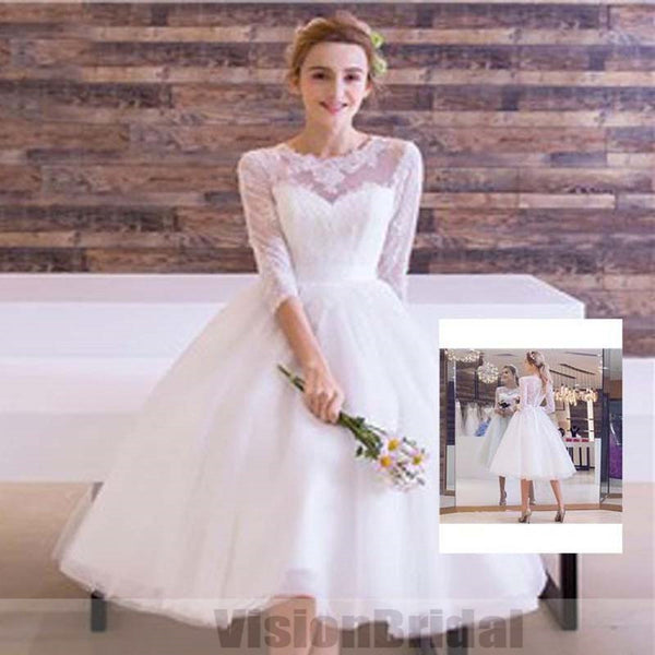 Inexpensive Cute White Lace Round Neck Half Sleeve See Through Tulle Wedding Dresses, Knee-Length Wedding Dress, VB0765