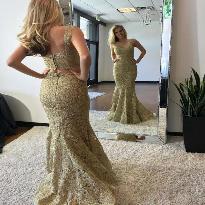 Charming Gold Lace Two Pieces Long Mermaid Prom Dresses, Prom Dresses, VB01300