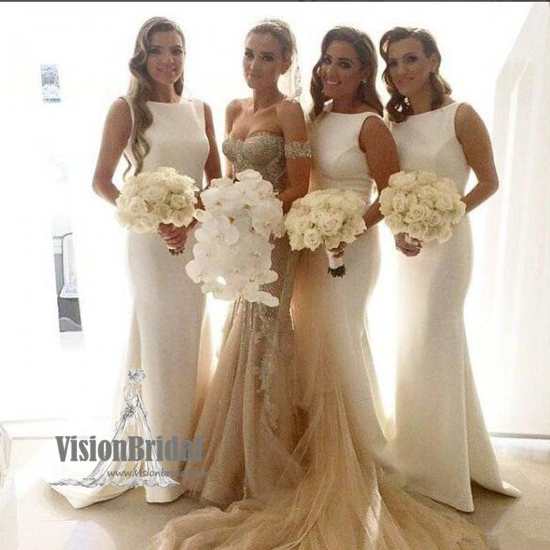 Charming White Round Neck Sleeveless Mermaid Long Bridesmaid Dress, Bridesmaid Dresses, VB0547 - Visionbridal