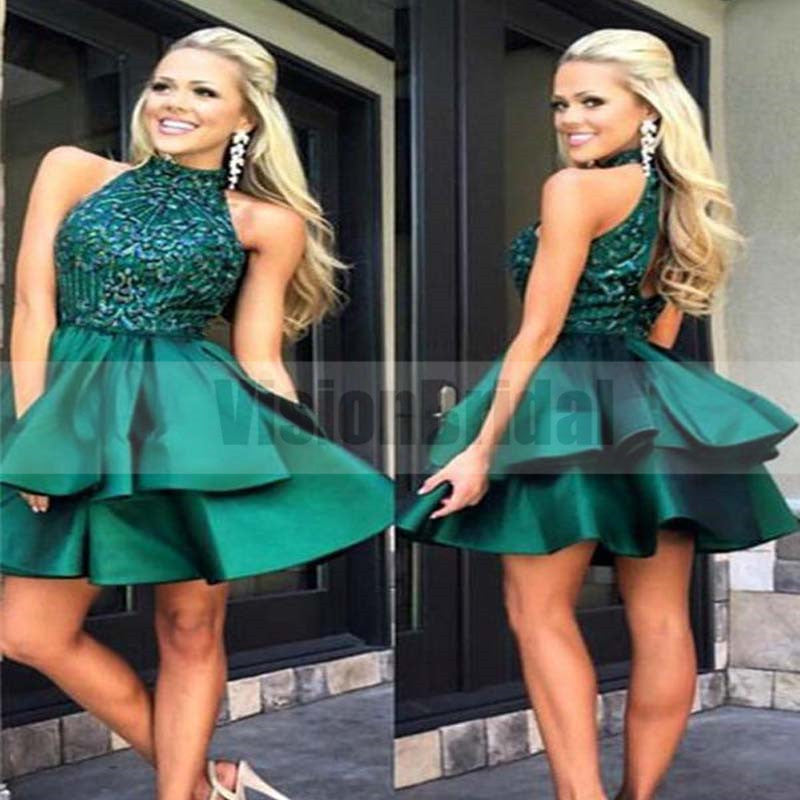 241dc576bc61 Sparkly Halter Open Back Green With Beaded Homecoming Dresses, Homecoming  Dress, VB0717