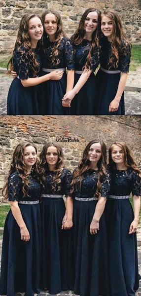 Charming Navy Blue Top Lace Half Sleeve Long A-Line Bridesmaid Dresses, Bridesmaid Dresses, VB01964