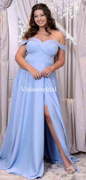 Charming Blue Off Shoulder Side Slit A-Line Prom Dresses, VB03471